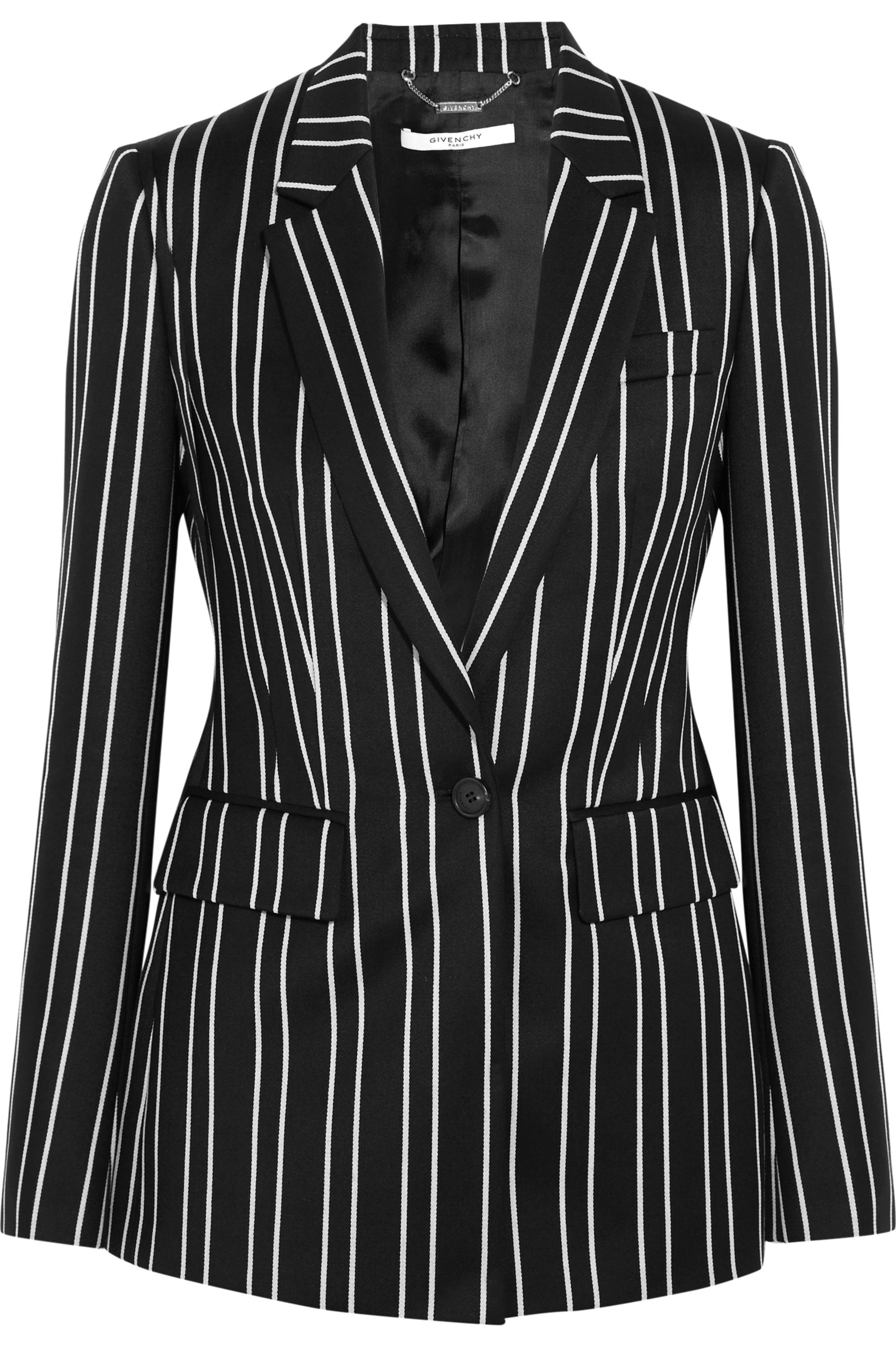 Givenchy Blazer in black and white striped wool-jacquard