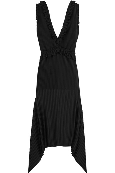 Pleated midi dress in black stretch-satin