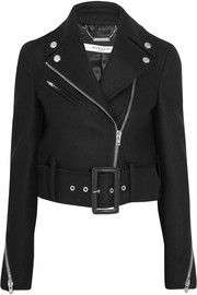 Givenchy Cropped biker jacket in black wool-blend felt