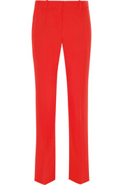 Cropped straight-leg pants in red grain de poudre wool