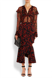Givenchy Ruffled blouse in floral-print silk-chiffon