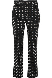 Slim-leg pants in printed stretch-crepe