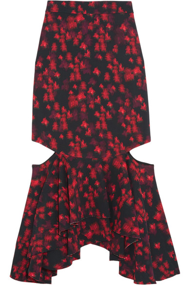 Givenchy - Cutout Ruffled Midi Skirt In Floral-print Stretch-satin - Red