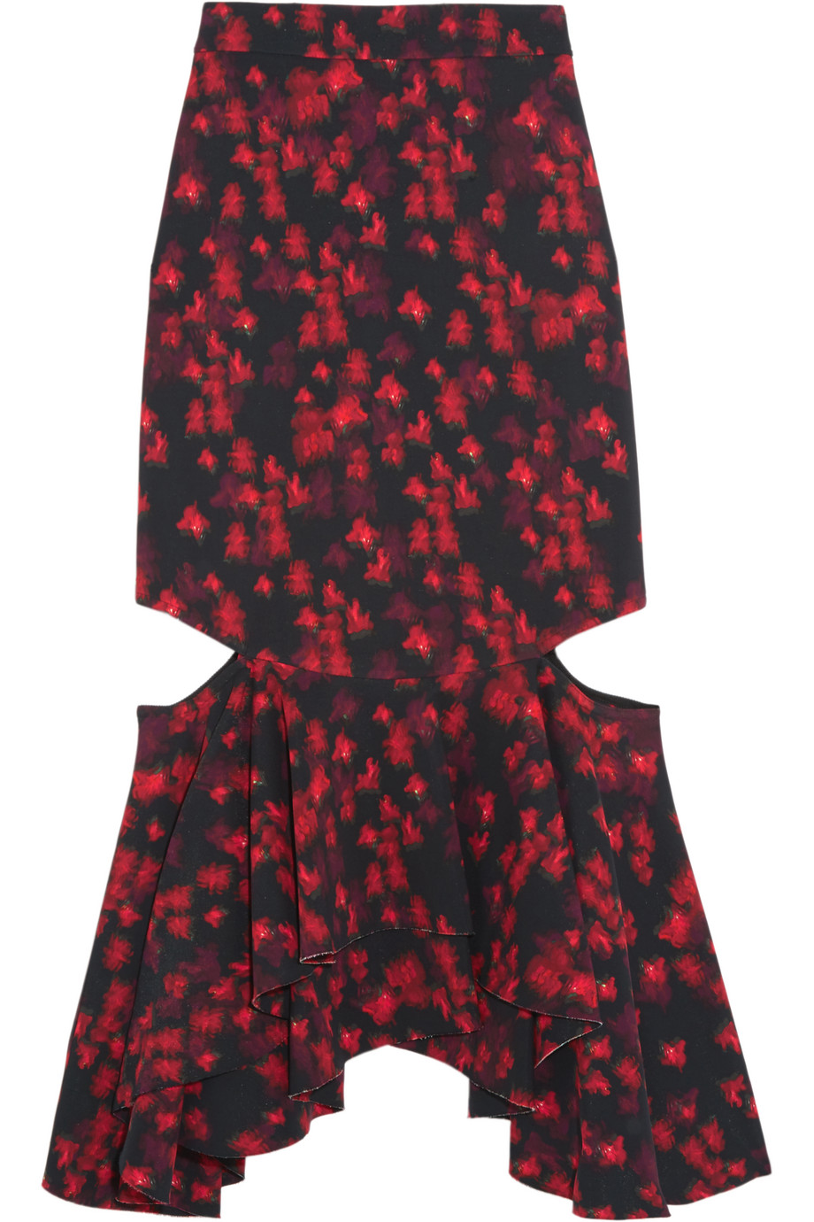 Givenchy Cutout Ruffled Midi Skirt in Floral-Print Stretch-Satin, Size: 36