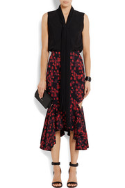 Cutout ruffled midi skirt in floral-print stretch-satin