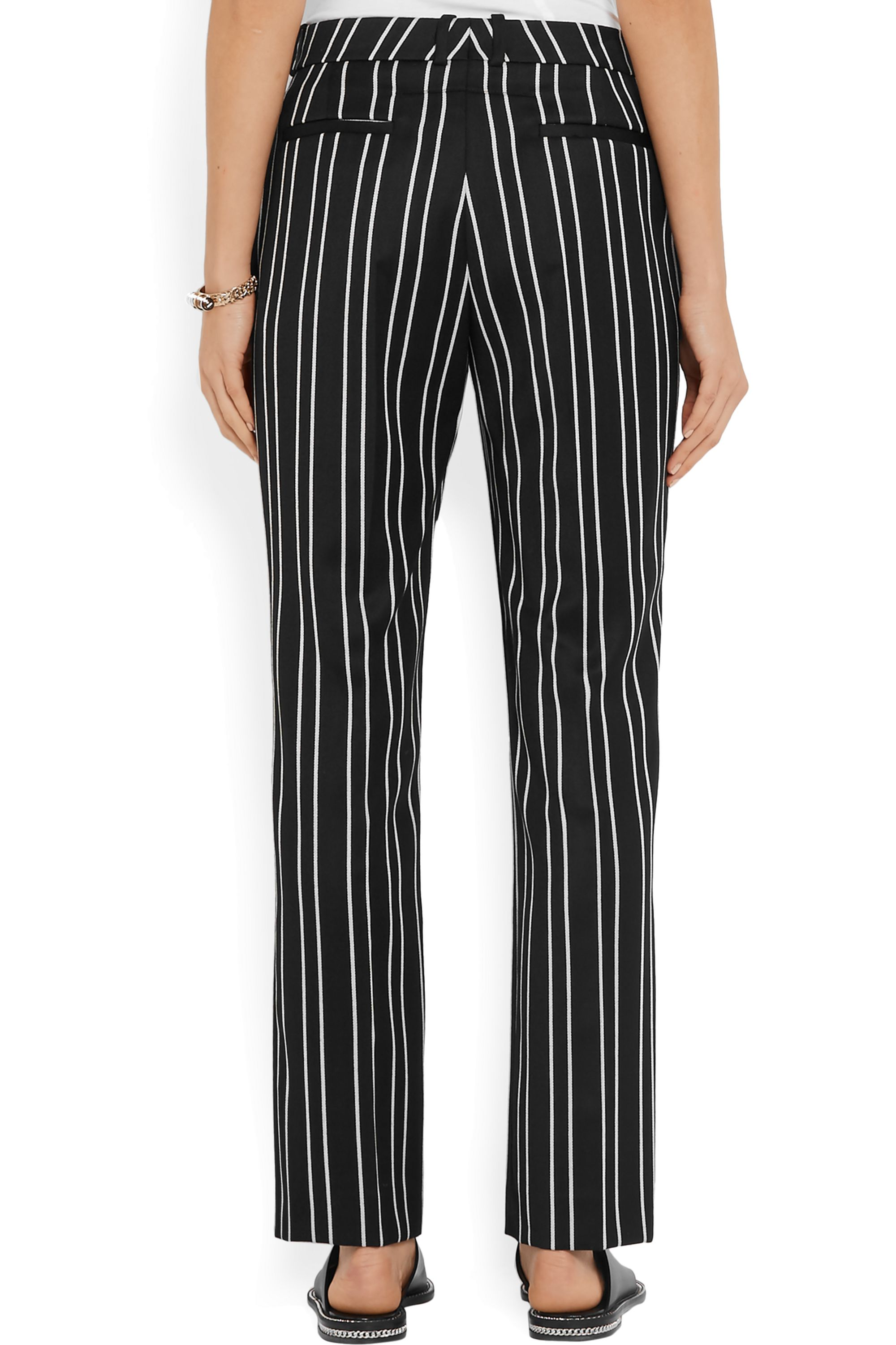 Givenchy Straight-leg pants in black and white striped wool-jacquard