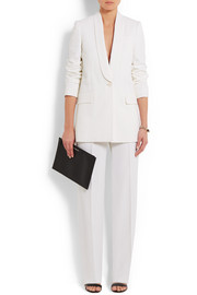 Wide-leg tuxedo pants in white satin-crepe