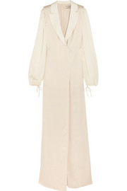 Lanvin Satin-trimmed washed-twill gown