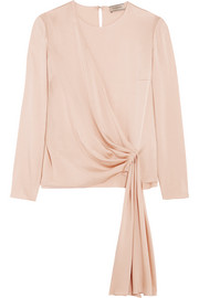 Draped crepe de chine blouse
