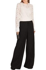 Lanvin Crepe de chine-trimmed corded lace top