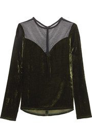 Tulle-paneled velvet top