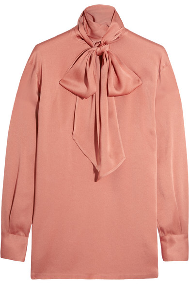 Lanvin - Pussy-bow Charmeuse Blouse - Antique rose