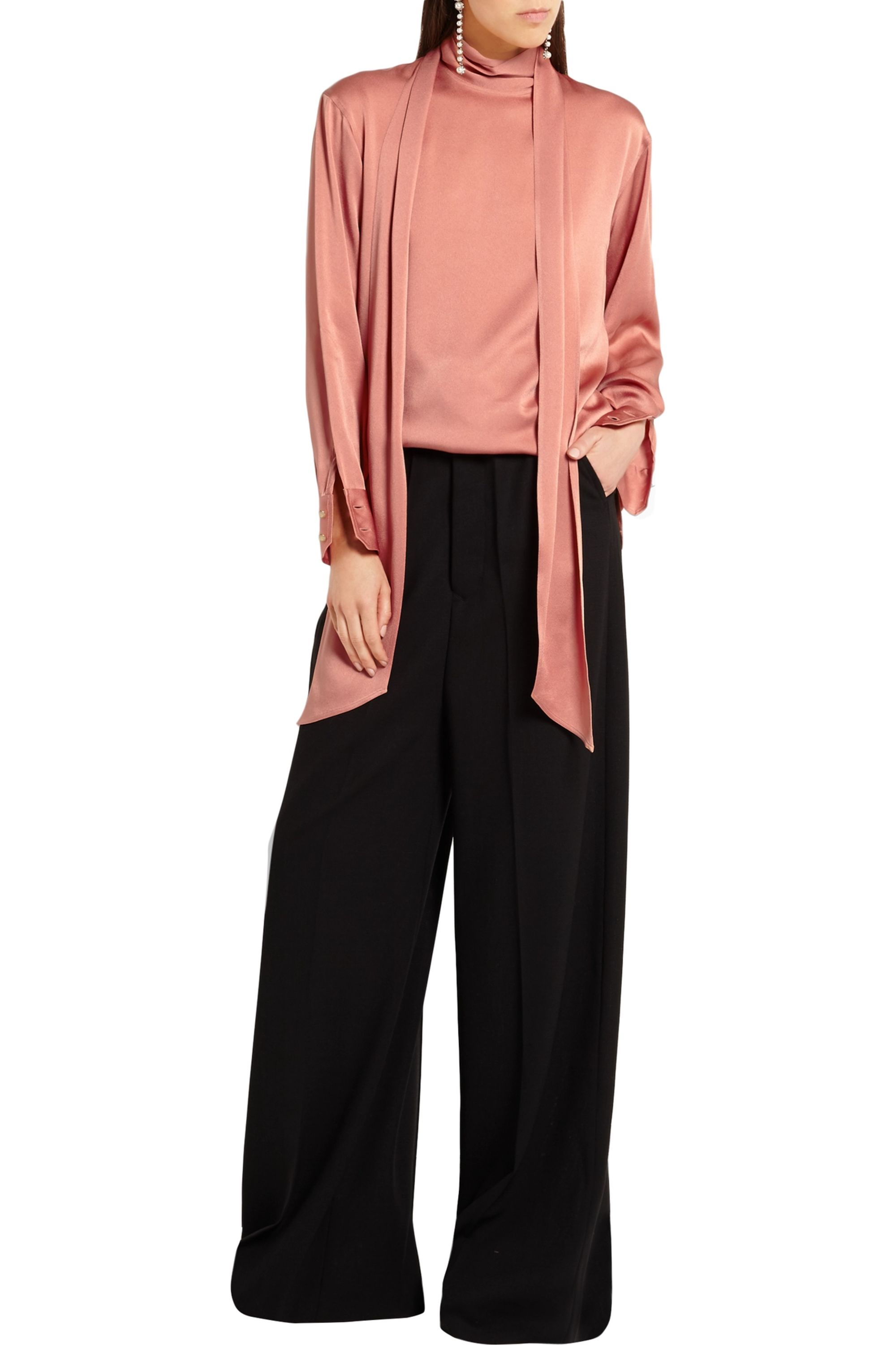 Lanvin Pussy-bow charmeuse blouse