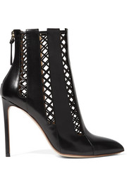 Lattice-paneled leather ankle boots