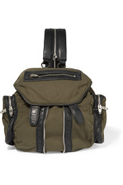 Marti mini leather-trimmed canvas backpack
