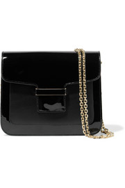 Camelia matte and patent-leather shoulder bag