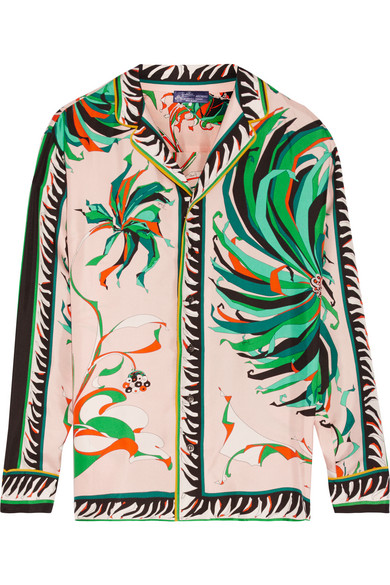 Emilio Pucci - Printed Silk-twill Blouse - Pastel pink