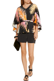 Emilio Pucci Cape-back silk-paneled printed jersey blouse