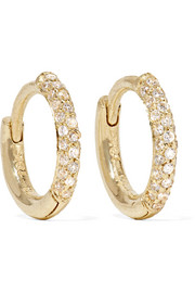 Jennifer Meyer Huggie 18-karat gold diamond hoop earrings