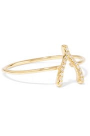 Jennifer Meyer 18-karat gold diamond wishbone ring