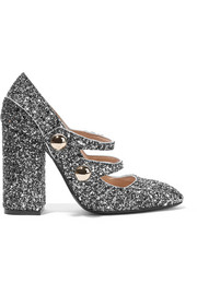 No. 21 Glittered leather pumps