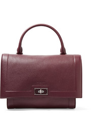 Small Shark bag in burgundy textured-leather