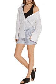Striped crepe de chine shorts
