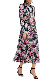 Printed silk-jacquard midi dress