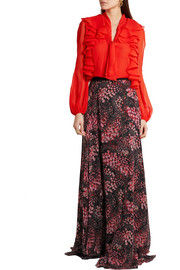 Printed silk-georgette maxi skirt
