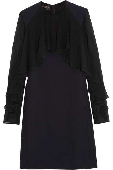 Giambattista Valli - Ruffled Silk-chiffon And Cady Mini Dress - Navy