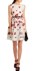 Giambattista Valli Satin-trimmed embroidered organza mini dress
