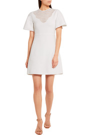Giambattista Valli Lace-paneled stretch-cady mini dress
