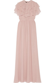 Ruffled silk-georgette gown