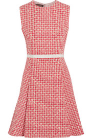 Pleated wool-blend tweed mini dress