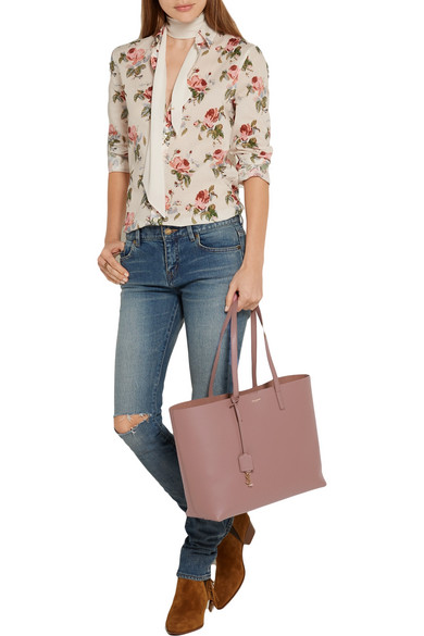 9b879477d SAINT LAURENT | Shopping large textured-leather tote | NET-A-PORTER.COM