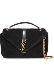 Saint Laurent Monogramme medium quilted velvet shoulder bag