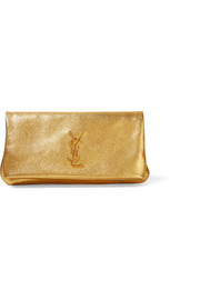 Monogramme West Hollywood fold-over metallic textured-leather clutch