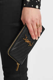 Saint Laurent College quilted textured-leather continental wallet