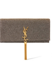 Saint Laurent Monogramme Kate textured-lamé clutch