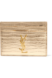 Monogramme metallic croc-effect leather cardholder