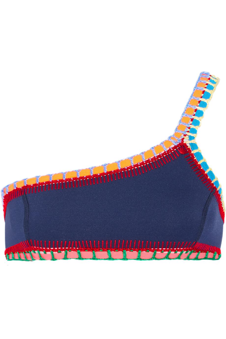 Tasmin Crochet-Trimmed Bikini Top, Navy, Women's, Size: S