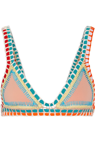 Kiini - Luna Crochet-trimmed Triangle Bikini Top - Neutral