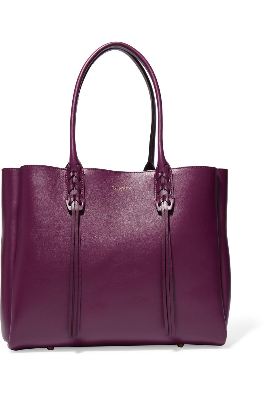 Lanvin The Shopper Small Leather Tote, Grape, Women's