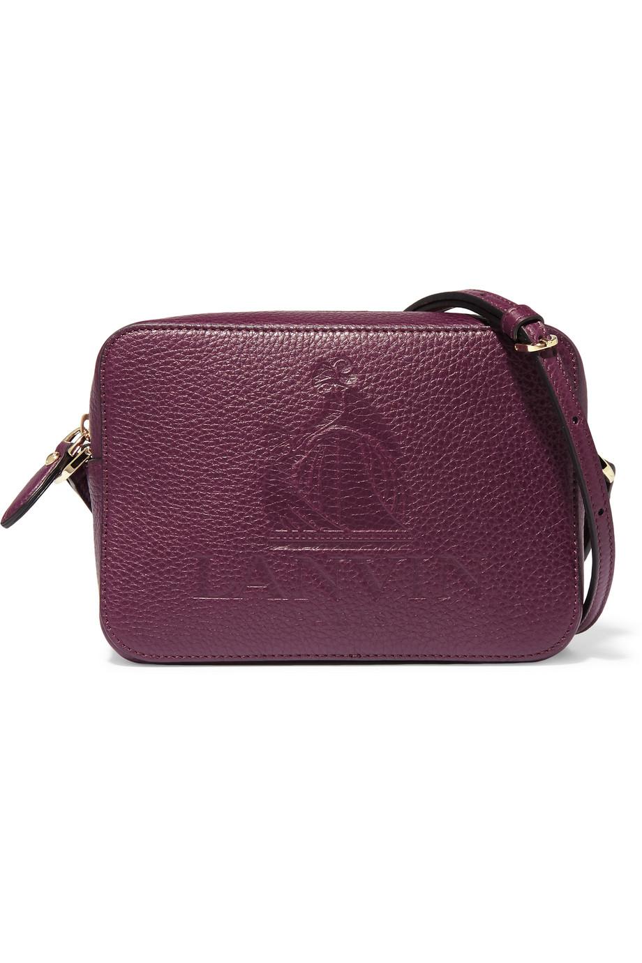 Lanvin Nomad Embossed Textured-Leather Shoulder Bag, Grape, Women's