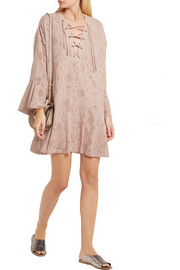 IRO Ralene lace-up chiffon and tulle mini dress