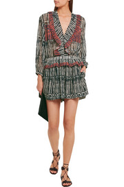 IRO Polaka ruffled printed georgette playsuit