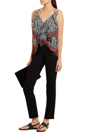 IRO Kaprine ruffled printed georgette top