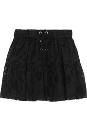 Carmel lace-up chiffon and tulle mini skirt
