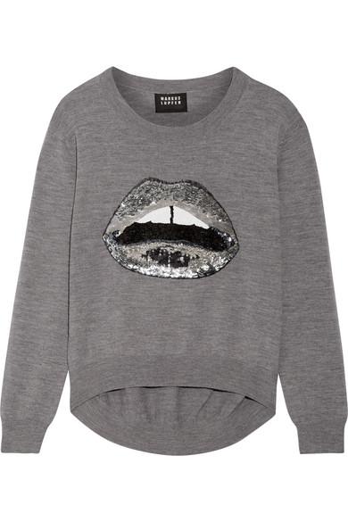 Markus Lupfer - Lara Lip Joey Sequin-embellished Merino Wool Sweater - Anthracite