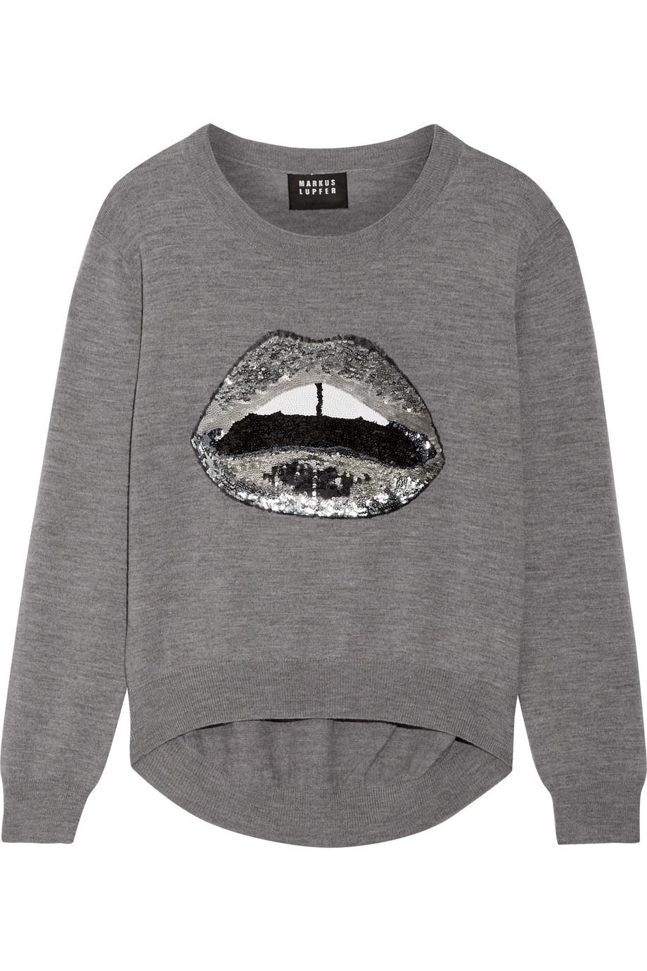 Markus Lupfer Lara Lip Joey Sequin-Embellished Merino Wool Sweater, Anthracite, Women's